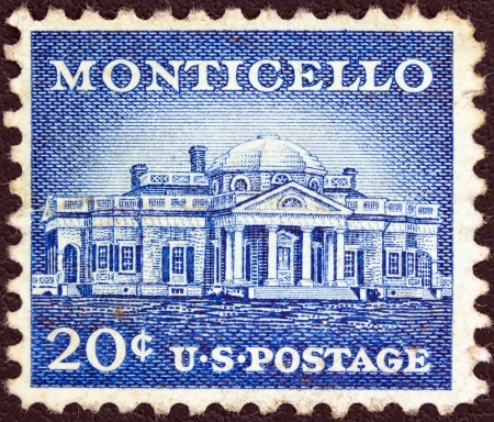 USA - CIRCA 1954: A stamp printed in USA from the Liberty issue shows Monticello, Thomas Jeffersons estate, circa 1954.  Editorial