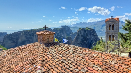 View from the roof of Varlaam monastery, Meteora, Greece  photo