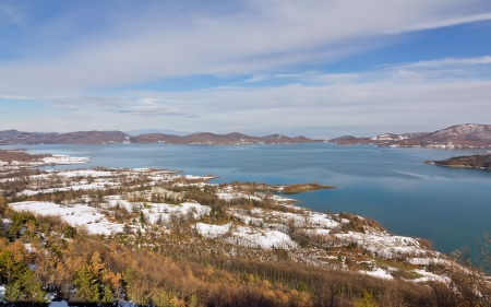 Lake Plastiras winter view, Thessaly, Greece  photo