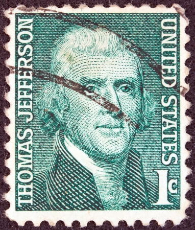 rembrandt: USA - CIRCA 1968: A stamp printed in USA from the Prominent Americans issue shows a portrait of president Thomas Jefferson (by Rembrandt Peale), circa 1968.