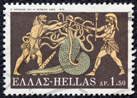 GREECE - CIRCA 1970: A stamp printed in Greece, from the Hercules issue shows Hercules killing Lernaean Hydra, circa 1970.  Editorial