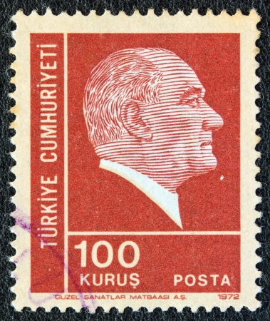 TURKEY - CIRCA 1972: A stamp printed in Turkey shows a portrait of Kemal Ataturk, circa 1972.
