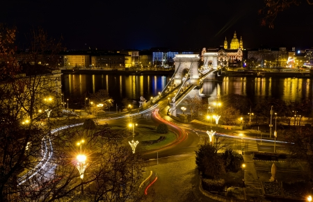 Chain bridge and St  Stephen night view, Budapest, Hungary  photo