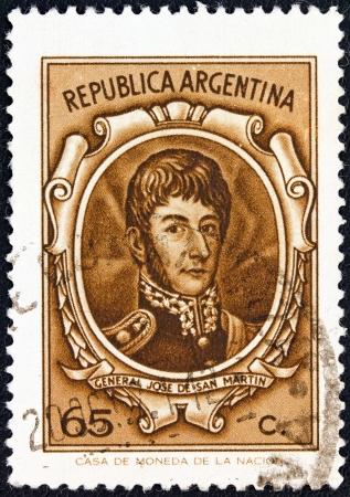 postes: ARGENTINA - CIRCA 1970: A stamp printed in Argentina shows General Jose de San Martin, circa 1970.