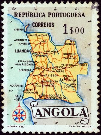 ANGOLA - CIRCA 1955: A stamp printed in Angola shows a map of Angola, circa 1955.