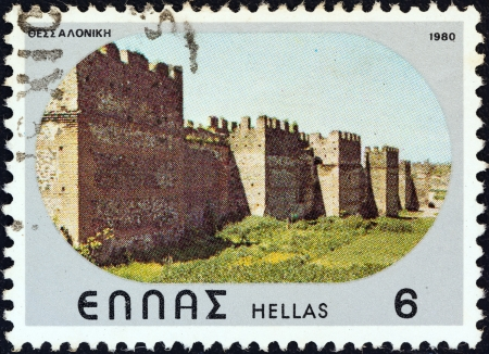 GREECE - CIRCA 1980: A stamp printed in Greece from the Castles, Caves and Bridges issue shows Byzantine castle, Thessaloniki, circa 1980.