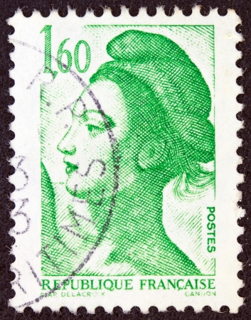 stempeln: FRANCE - CIRCA 1982: A stamp printed in France shows Liberte of Delacroix circa 1982.