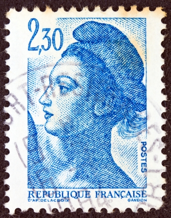 marianne: FRANCE - CIRCA 1982: A stamp printed in France shows Liberte of Delacroix circa 1982.
