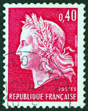 timbre: FRANCE - CIRCA 1969: A stamp printed in France shows Marianne, type Cheffer, circa 1969.