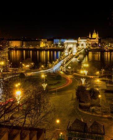 Chain bridge and St. Stephen basilica night view, Budapest, Hungary  photo