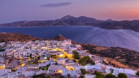 Plaka village dusk panorama, Milos island, Cyclades, Greece  Stock Photo