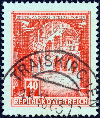 spittal: AUSTRIA - CIRCA 1957: A stamp printed in Austria from the Buildings issue shows Porcia Castle, Spittal, circa 1957.  Editorial