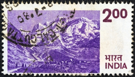 devi: INDIA - CIRCA 1974: A stamp printed in India shows the Himalayas, circa 1974. Editorial
