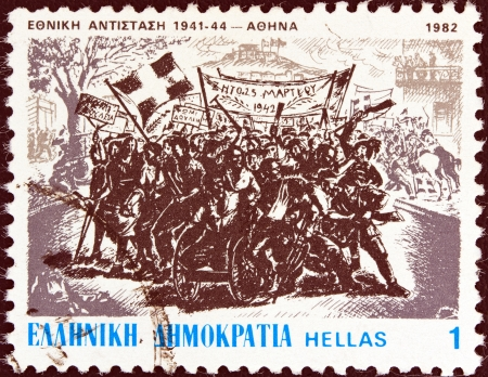 GREECE - CIRCA 1982: A stamp printed in Greece from the National Resistance, 1941-44 issue shows Demonstration in Athens, 25 March 1942 (P. Zachariou), circa 1982.  Editorial
