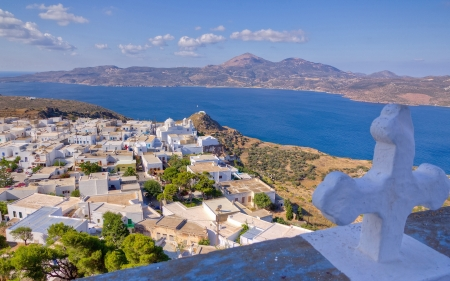 View of Plaka village from Panagia Thalassitra church, Milos island, Cyclades, Greece  photo