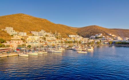 Merichas ポート、Kythnos 島キクラデス諸島, ギリシャ 写真素材