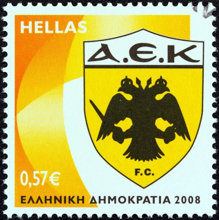 GREECE - CIRCA 2008: A stamp printed in Greece from the 'Soccer Team Emblems' issue shows 'AEK Athens' emblem, circa 2008.