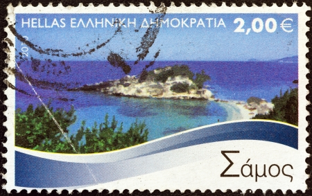 GREECE - CIRCA 2010: A stamp printed in Greece from the Greek Islands issue shows Samos island, circa 2010.