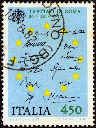 eec: ITALY - CIRCA 1982: A stamp printed in Italy from the Europa issue shows Treaty of Rome (Treaty establishing the European Economic Community) signatures, circa 1982.