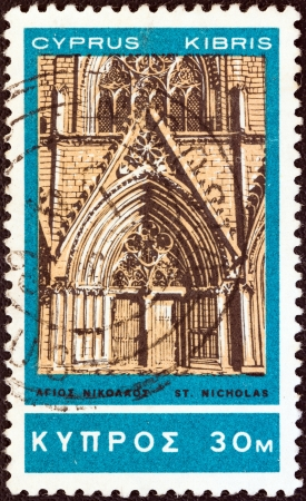 kypros: CYPRUS - CIRCA 1966: A stamp printed in Cyprus shows St. Nicholas Cathedral, Famagusta, circa 1966. Editorial