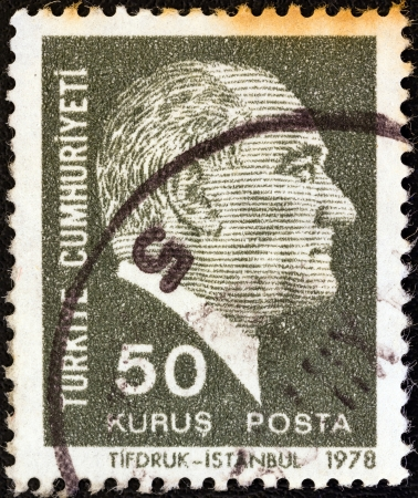 TURKEY - CIRCA 1978: A stamp printed in Turkey shows a portrait of Kemal Ataturk, circa 1978.