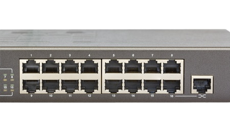 Network switch front panel with 16 ports and uplink port isolated  photo