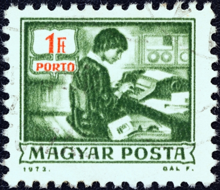 magyar: HUNGARY - CIRCA 1973: A stamp printed in Hungary from the Postal Operations issue shows data recording machine, circa 1973.
