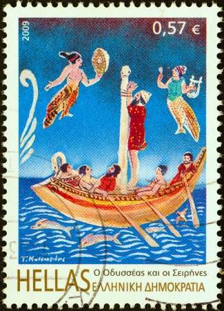sirens: GREECE - CIRCA 2009: A stamp printed in Greece from the Folklore & Mythology issue shows Odysseus and The Sirens, circa 2009.