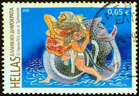 merman: GREECE - CIRCA 2009: A stamp printed in Greece from the Folklore & Mythology issue shows Heracles and Triton, circa 2009.  Editorial