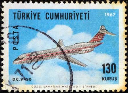 TURKEY - CIRCA 1967: A stamp printed in Turkey from the 'Aircraft' ; issue shows a Douglas DC-9-30 airliner, circa 1967.