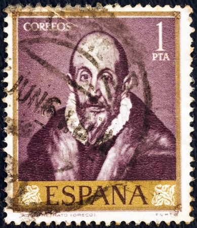 greco: SPAIN - CIRCA 1961: A stamp printed in Spain from the shows a self portrait of El Greco, circa 1961.  Editorial