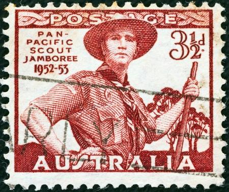 AUSTRALIA - CIRCA 1952: A stamp printed in Australia shows Pan-Pacific Scout Jamboree, Greystanes, circa 1952.  Stock Photo - 14628128