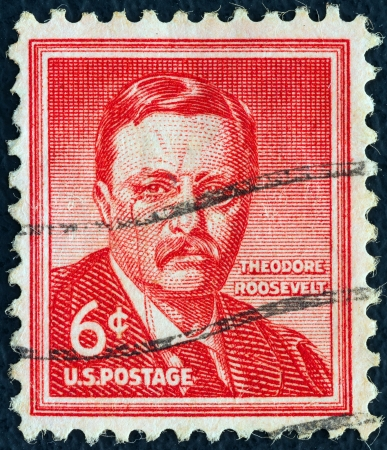 roosevelt: USA - CIRCA 1954: A stamp printed in USA from the Liberty issue shows the 26th President of the United States Theodore Teddy Roosevelt, circa 1954.