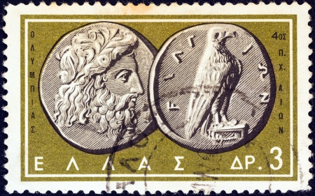 greek coins: GREECE - CIRCA 1963: A stamp printed in Greece from the Ancient Greek Coins issue shows a coin from Olympia 4th century B.C. (Zeus and Eagle), circa 1963.
