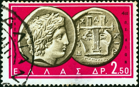 greek coins: GREECE - CIRCA 1963: A stamp printed in Greece from the Ancient Greek Coins issue shows a coin from Chalcidice, Macedonia 4th century B.C. (Apollo and lyre), circa 1963.
