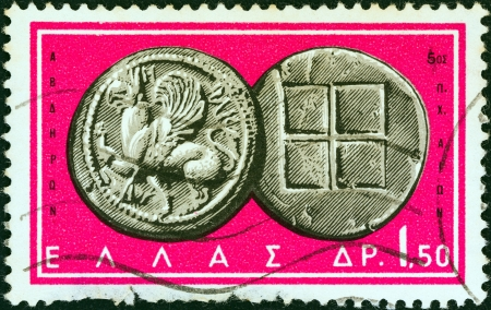 greek coins: GREECE - CIRCA 1963: A stamp printed in Greece from the Ancient Greek Coins issue shows a coin from Abdera, Thrace 5th century B.C. (Griffin and squares), circa 1963.