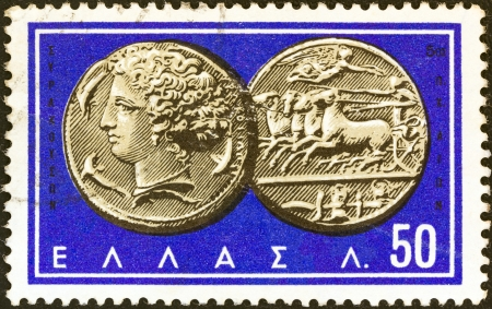 greek coins: GREECE - CIRCA 1963: A stamp printed in Greece from the Ancient Greek Coins issue shows a coin from Syracuse 5th century B.C. (Nymph Arethusa and chariot), circa 1963.