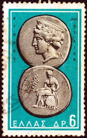 greek coins: GREECE - CIRCA 1963: A stamp printed in Greece from the Ancient Greek Coins issue shows a coin from Paphos, Cyprus 4th century B.C. (Aphrodite and Apollo), circa 1963.