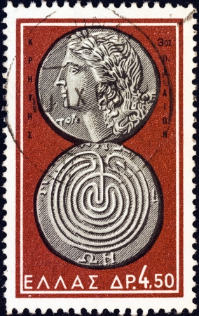 greek gods: GREECE - CIRCA 1963: A stamp printed in Greece from the Ancient Greek Coins issue shows a coin from Crete 3rd century B.C. (Apollo and labyrinth), circa 1963.