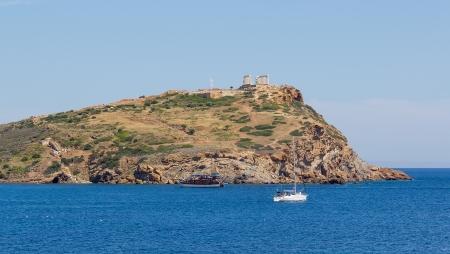 Sounio cape and Poseidon temple view, Greece