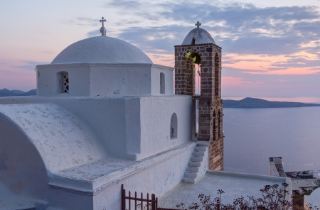 Panagia Thalassitra church at sunset, Milos island, Cyclades, Greece photo