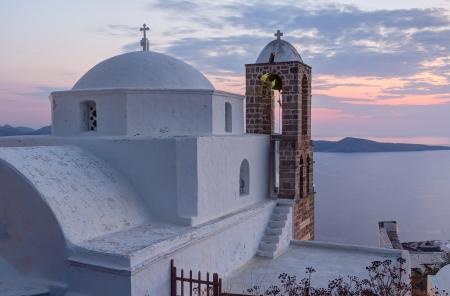 Panagia Thalassitra church at sunset, Milos island, Cyclades, Greece photo
