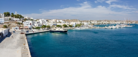 Panorama of Adamantas port, Milos island, Cyclades, Greece photo