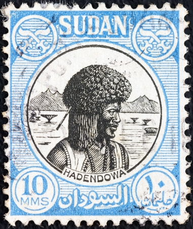 SUDAN - CIRCA 1951: A stamp printed in Sudan shows Hadendowa nomad, circa 1951.  Stock Photo - 14998740