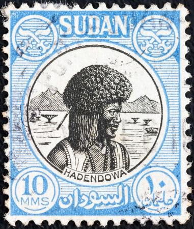 SUDAN - CIRCA 1951: A stamp printed in Sudan shows Hadendowa nomad, circa 1951.  Stock Photo - 14998740