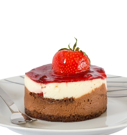 Small cake with chocolate and strawberry isolated photo
