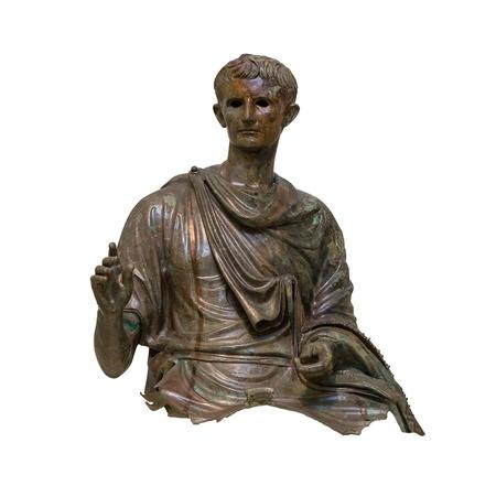 augustus: Bronze statue of the first Roman emperor Augustus  27 B C -14 A D  , found in the Aegean sea  12-10 B C