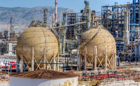 oil refinery: Storage tanks in oil refinery