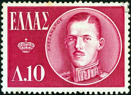 alexandros: GREECE - CIRCA 1957: A stamp printed in Greece shows King Alexander, circa 1957.