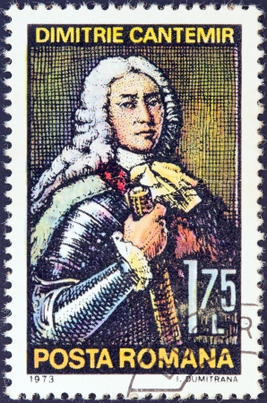 leu: ROMANIA - CIRCA 1973: A stamp printed in Romania issued for the 300th birth anniversary of Dimitrie Cantemir shows Prince of Moldavia and writer Dimitrie Cantemir, circa 1973.